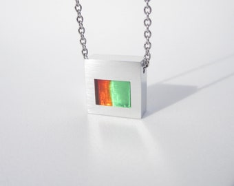 Modern Necklace – Contemporary Jewelry – Fused Pendant – Chisel Work – Hand Worked Jewelry
