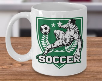 Soccer 11oz White Coffee Mug Player Kicker Green Gift for Soccer Players, Soccer Gift Idea, Soccer Coach Gift, Soccer Mug