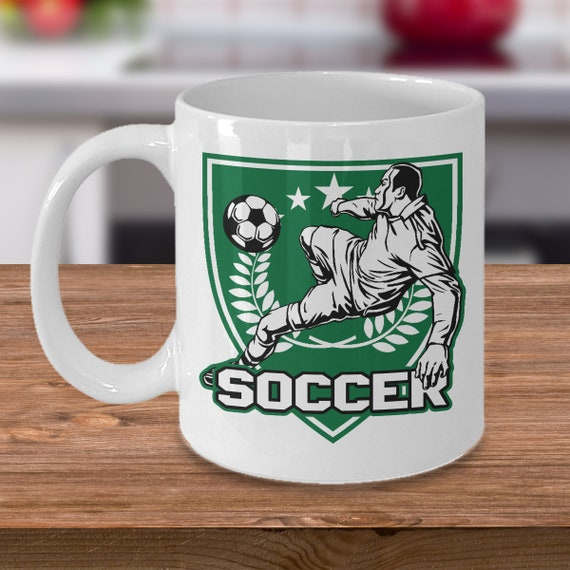 Soccer 11oz White Coffee Mug Player Kicker