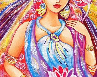 Indian art, Indian woman painting, Lotus art, goddess art, lotus flower, feminine decor, beauty painting print 8x12+