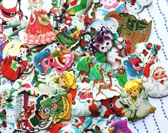 Vintage Christmas Seals - Assorted Set of 15 - Cute Christmas, Vintage Christmas Stickers, Dennison, Eureka, Vintage Labels, Gummed Seals