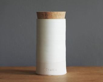 custom urn with cork lid, straight shaped. Choice of color, name, date. Modern custom urn. White porcelain, bone white glaze.