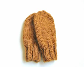 Hand Knit Baby Mittens, Warm Winter Clothing, Infant Child Size 12 to 18 Months, Rust Orange No Thumb Hand Warmer Mitts, Boy Birthday Gift