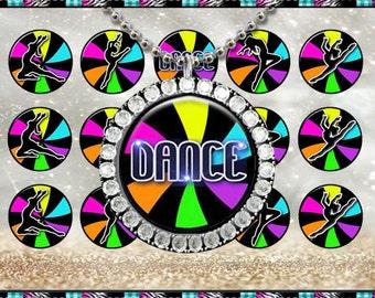 """Neon Dance - INSTANT DIGITAL DOWNLOAD - 1"""" Bottlecap Craft Images (4x6) Digital Collage Sheet"""