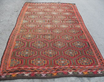 kilim rug free shipping VINTAGE TURKİSH antalya cecim kilim Anatolian kilim rug decorative kilim - SİZE : 70'' X 120'' ( 175 cm X 300 cm)