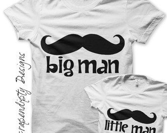 Father Son Iron on Transfer - Mustache Iron on Shirt / Fathers Day Shirt / Big Man Shirt / Little Man Shirt / New Dad Outfit / Brothers -D
