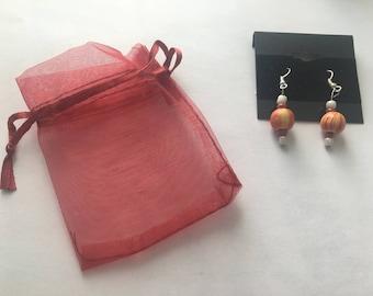 Orange and Yellow Swirl Bead Earrings