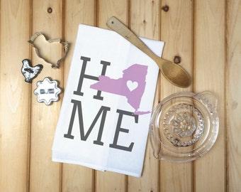 New York State Flour Sack Towel, New York State Tea Towel, Flour Sack Tea Towel, Housewarming Gift, Wedding Gift, Birthday Gift, State Art