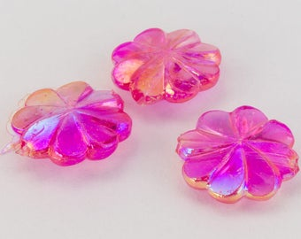 10mm Fuchsia AB Pinwheel Flower (12 Pcs) #UP084