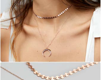Upside Down Moon Necklace, Crescent Moon Necklace, Gold Layered Necklace, Dainty Choker, Rose Gold Coin Choker Necklace