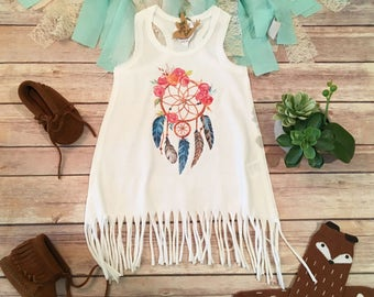 Boho Baby Clothes, Bohemian Baby Clothes, Baby Girl Clothes, Boho Baby Girl Dress, Hippie Baby Dress, Dreamcatcher Baby, Baby Fringe Dress
