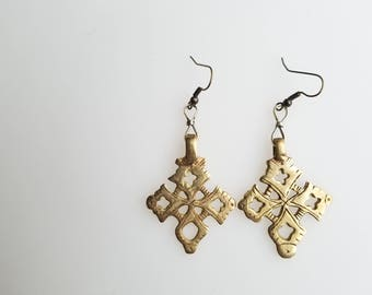 Ethiopian Coptic Cross earrings, handmade earrings, Coptic Cross, African jewelry, Ethiopian earrings