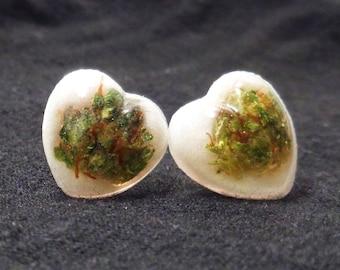 Heart Cannabis Stud Earrings-Heart Earrings-Weed Earrings-Weed Jewelry-Gifts for Her-Cannabis Earrings-Cannabis Jewelry-Gifts for Stoners