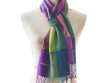 Multicolor Rayon Summer Scarf, Purple Lime Blue