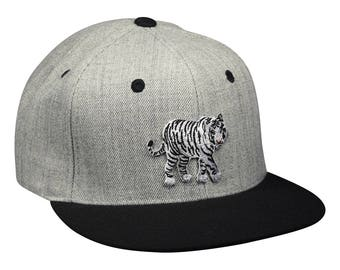 White Tiger Baseball Cap - Heather Gray Snapback Hat
