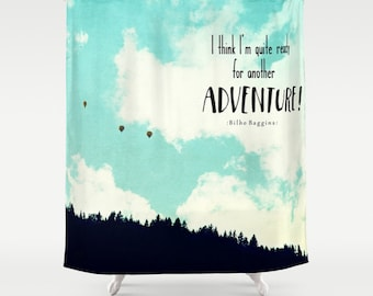 Fabric Shower Curtain, bathroom, home, decor, Adventure, Mountains, Hot Air Balloons, Bilbo Baggins Quote - Nature Photography by RDelean