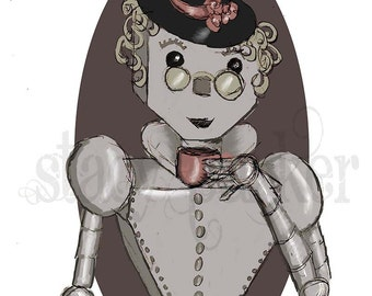 Digital Painting Print Lady Bot