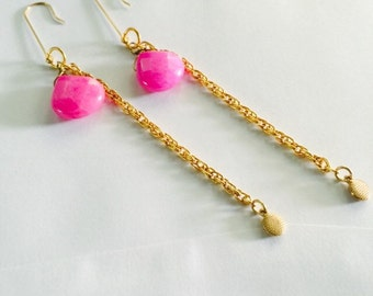 Pink beaded gold tone chain earrings