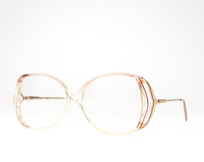 Vintage Eyeglasses | 80s Glasses | 1980s Oversized Glasses Frames | Clear Eyeglass Frame with Red Accent - Roxanne