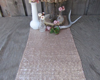 SALE!! Champagne Gold Sequin Table Runner ~ 12 x 108 Inches ~ Wedding Decor ~ Wedding Table Runner ~ Summer Wedding