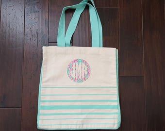 Monogrammed Striped Canvas Bag, Monogrammed Tote, Personalized Tote, Custom Tote, Custom Bag