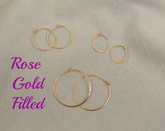 A Set of Rose Gold Filled Hoops