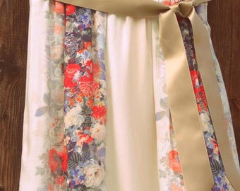 Skirt printed Beige flowered Ribbon SK littlefactory embroidery
