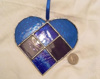 Blue stained glass sun catcher