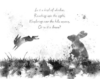 Watership Down inspired ART PRINT illustration, Bright Eyes, Quote, Rabbit, Wall Art, Home Decor, Black and White