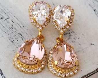 Blush earrings,Blush pink chandelier earrings,Blush bridal earring,Blush bridesmaid earrings,Blush wedding,Wedding earrings,Wedding jewlery