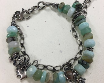 The Presley Bracelet in Peruvian Opal. Oxidized Sterling Silver and Faceted Peruvian Opal Bracelet. Chunky Aqua Peruvian Opal & Sterling