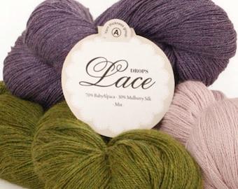 Alpaca Lace yarn! Garnstudio DROPS Design Lace 70% baby alpaca 30 mulberry silk 2ply knitting wool - 100 grams