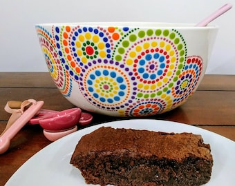 Ceramic Large Hand Painted Kitchen Bowl Custom Colours Pointilism Baking Bowl Dish Personalised Kitchen Bowl