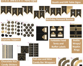 Gatsby / Art Deco Inspired Printable Birthday Party Decorations Package - BLACK and GOLD