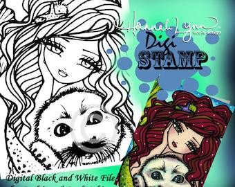 PRINTABLE Digi Stamp Sheila Seal Mermaid Coloring Page Fun Fantasy Art Hannah Lynn