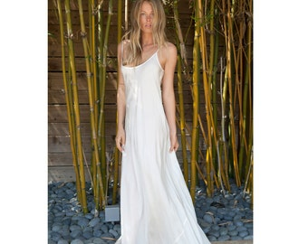 Ivory silk slip bias dress