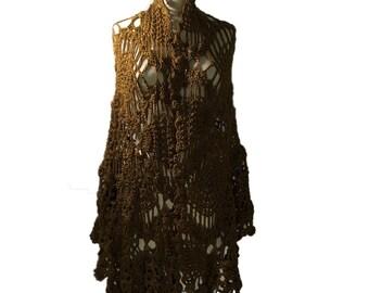Crochet Ruana Cape ( Golden Brown)