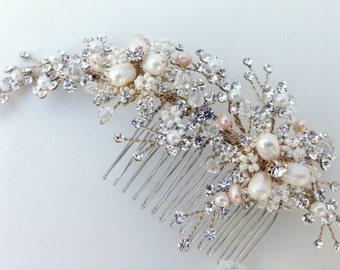 Crystal and Pearl Bridal Hair Comb, Wedding Hair Comb, Ivory & Champagne Pearl, Crystal Hair Comb, Swarovski Crystal, Bridal Headpiece,
