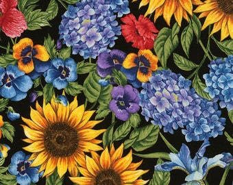 Packed Mixed Floral, Timeless Treasures Fabric, C5452 Black, Sunflowers, Hydrangea, English Garden, Cotton Floral, Quilt, Fabric By the Yard