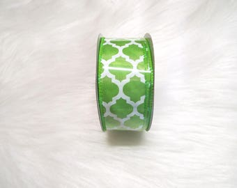 1.5x10yds-Lime Green quatrefoil ribbon, Lime Green lattice ribbon, Lime Green quatrefoil ribbons, Lime Green lattice ribbons, Lime green