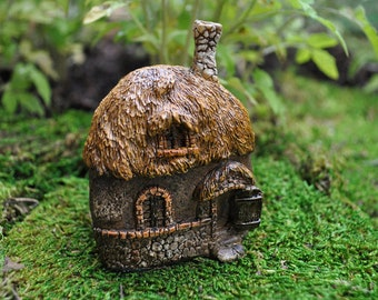 Miniature Dollhouse FAIRY GARDEN ~ Thatched Roof House Mini Cottage  ~ NEW