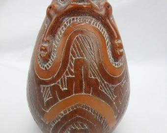Marajoara Marajo Brazil Brazilian Pottery Vase Vessel Brown Primitive Folk Art