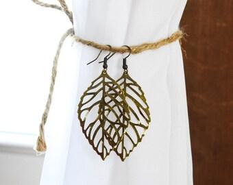 Delicate Antique Bronze Leaf Earrings