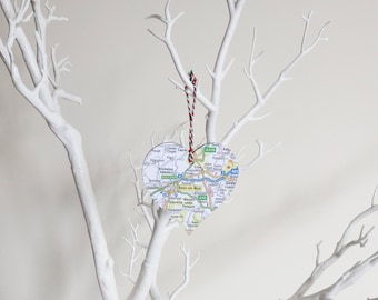 Personalised Heart Map Christmas Decoration - Choose your Location
