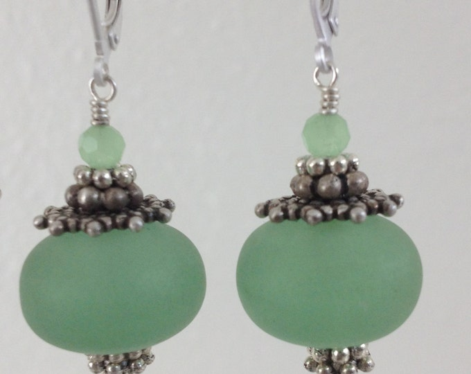 Frosted Resin Sea Moss Green Earrings, Perfect for Mother's Day earrings, Frosted Sea Glass Earrings,