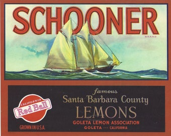 Vintage Schooner Lemons Original Lithograph Crate Label, 1950s