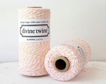 Peach Bakers Twine--Peach Divine Twine, Peach and White Bakers Twine 240 yards, Peach Twine, Peach Yarn, Peach Knitting, Peach Cord