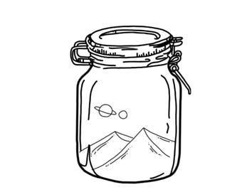Planets and mountains in a mason jar print