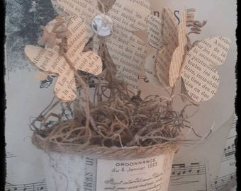 Flight of butterflies in jar antique linen paper