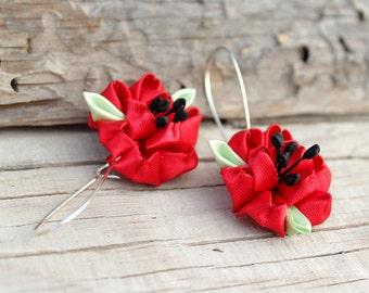 Poppy earrings gifts for women Red flower earrings Red earring Poppy jewelry Bridesmaids Gift Floral earrings Kanzashi flowers